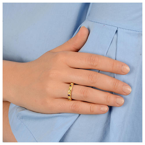 Prayer ring single decade in 925 silver with purple zircon 3