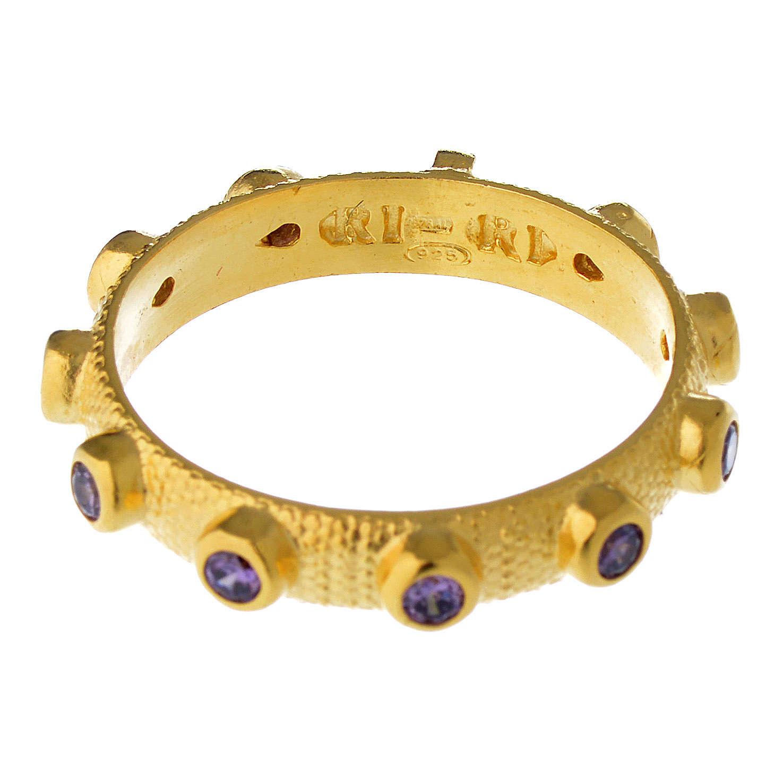 Anillo decena de plata 925 dorado con zircón morado 3