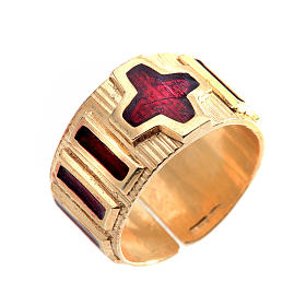Prayer ring single decade  gold-plated silver and enamel s1