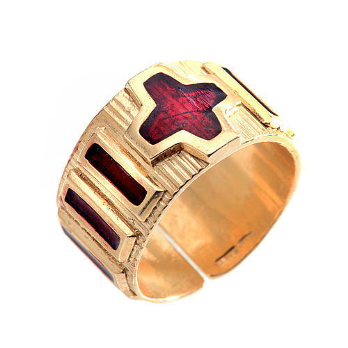 Prayer ring single decade  gold-plated silver and enamel 1