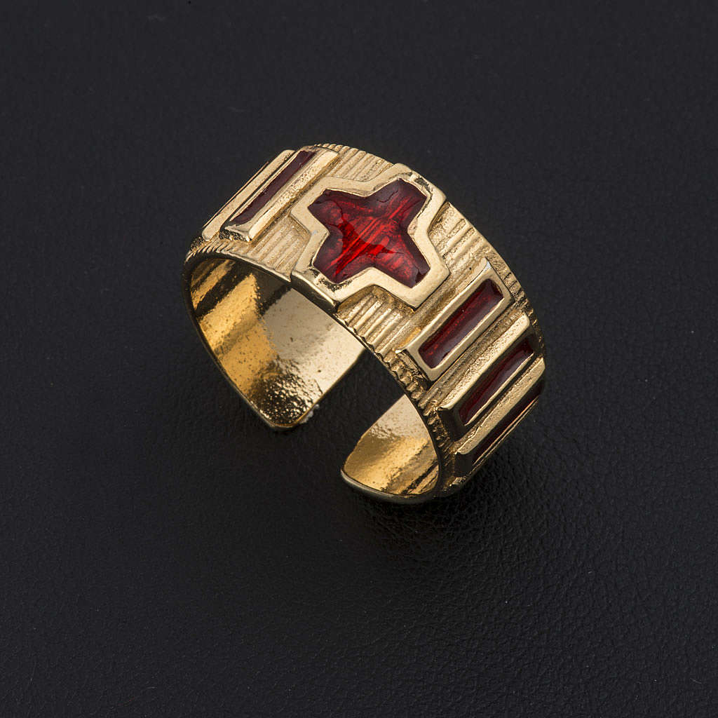 Prayer ring single decade  gold-plated silver and enamel 3
