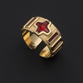 Prayer ring single decade  gold-plated silver and enamel s3