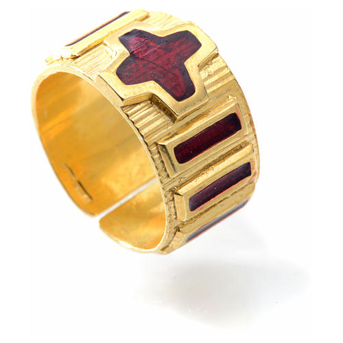 Prayer ring single decade  gold-plated silver and enamel 4