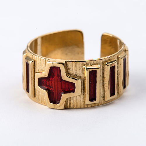 Prayer ring single decade  gold-plated silver and enamel 2