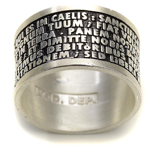 Prayer ring Our Father in Latin, 925 silver 2