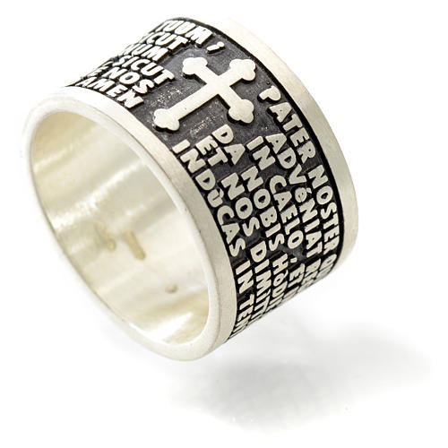 Prayer ring Our Father in Latin, 925 silver 5
