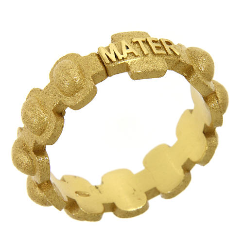 Rosary ring in gold plated silver 925 glazed finishing, MATER 1