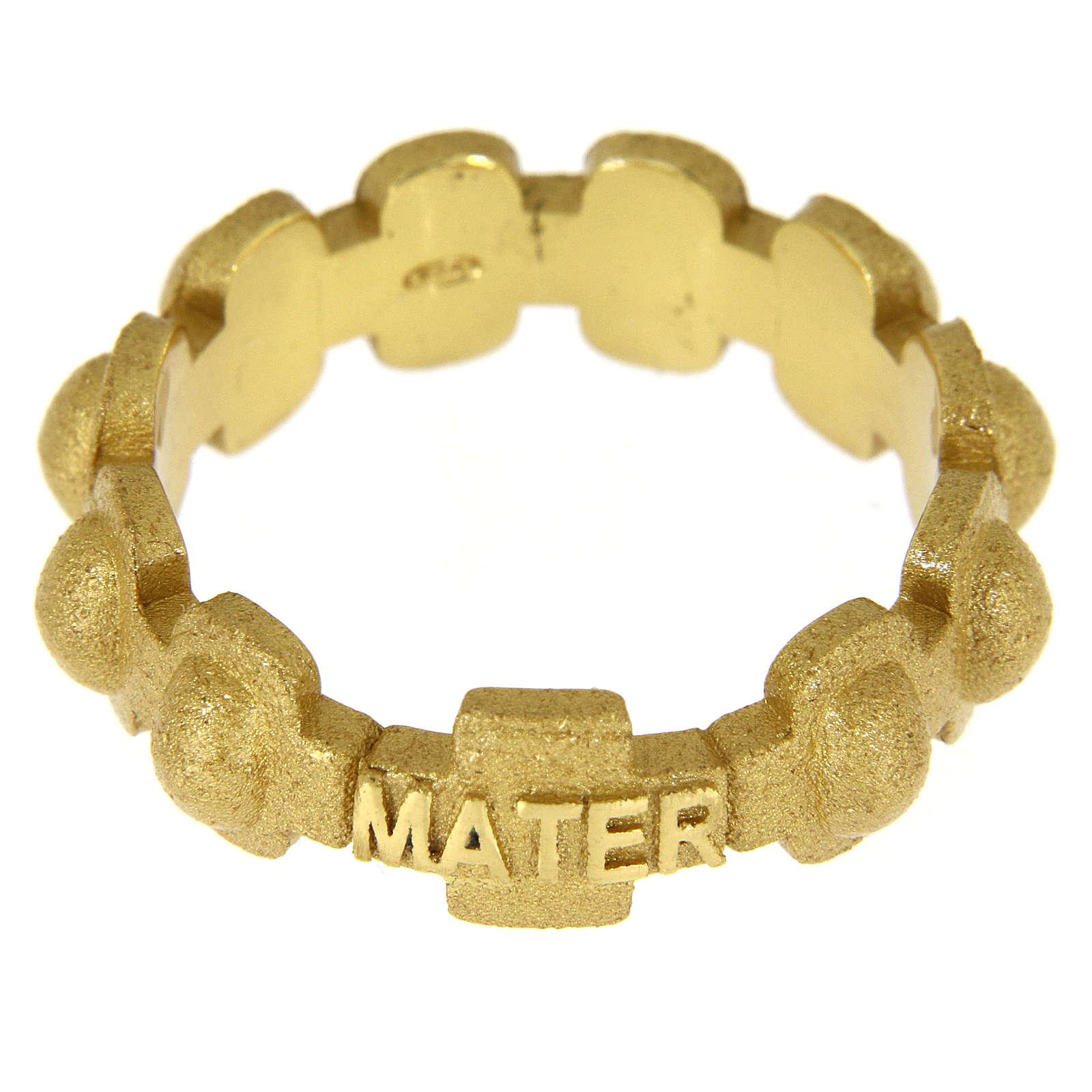 Anillo rosario MATER plata 925 arenada dorada 3