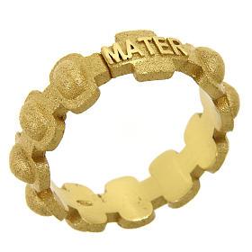 Anillo rosario MATER plata 925 arenada dorada s1