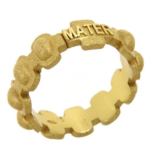 Anillo rosario MATER plata 925 arenada dorada 1