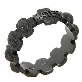 Anillo rosario MATER plata 925 arenado negro s1