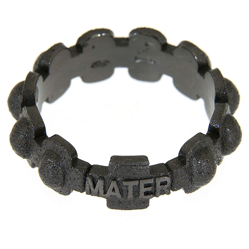 Fedina rosario MATER sabbiata nera argento 925 3