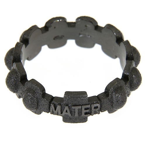 Fedina rosario MATER sabbiata nera argento 925 2