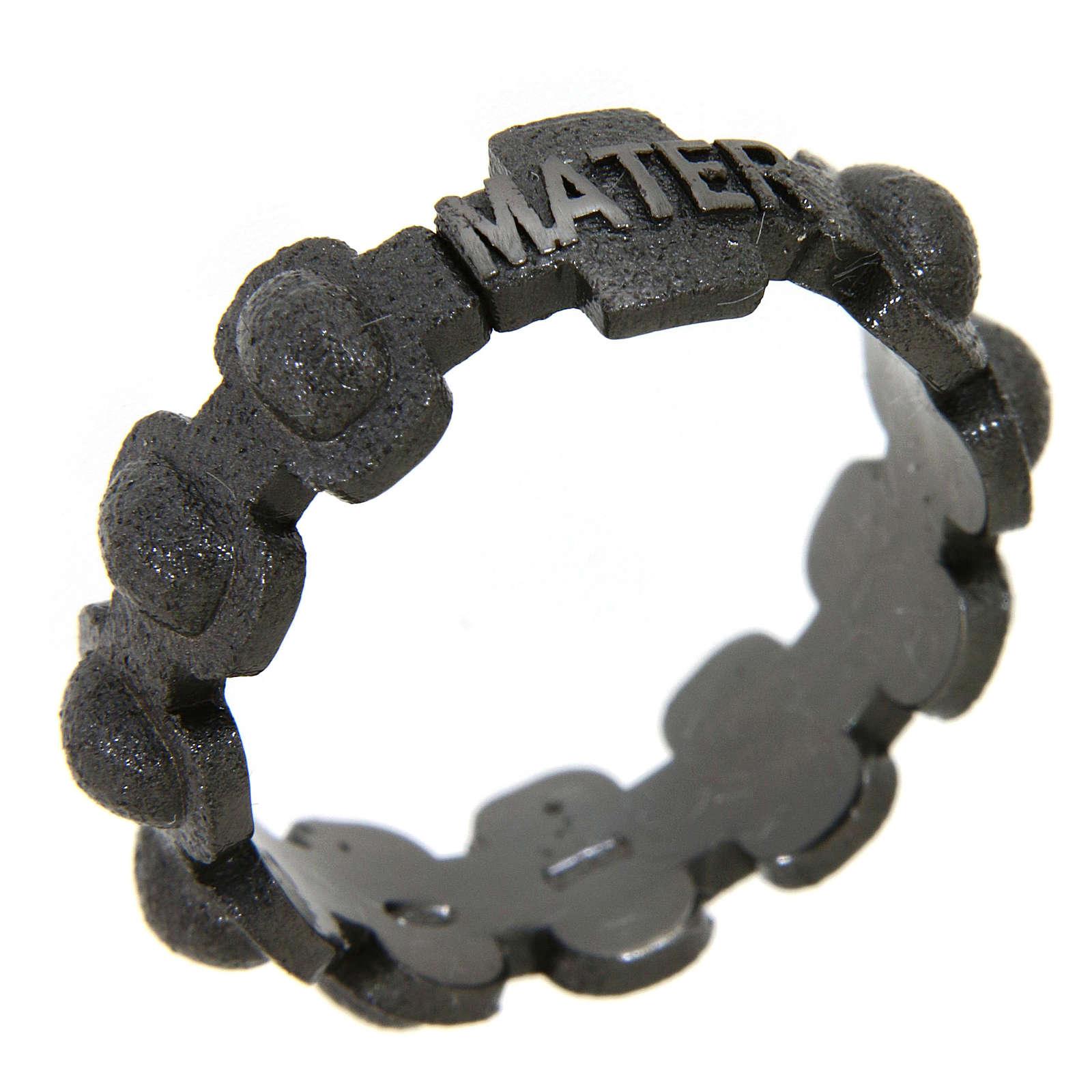 Rosary ring in dark silver 925 glazed finishing, MATER 3