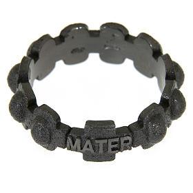 Rosary ring in dark silver 925 glazed finishing, MATER s2