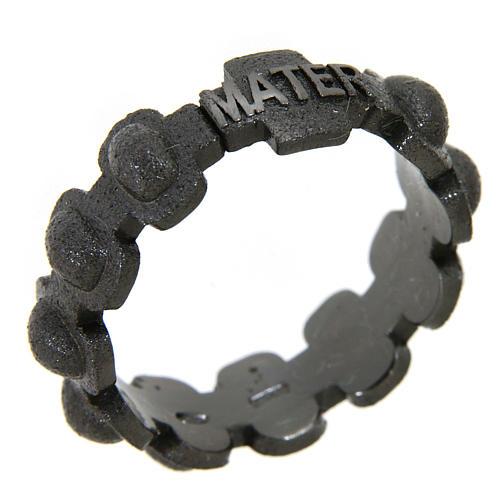 Rosary ring in dark silver 925 glazed finishing, MATER 1