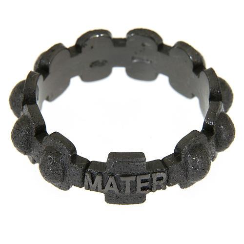 Rosary ring in dark silver 925 glazed finishing, MATER 2