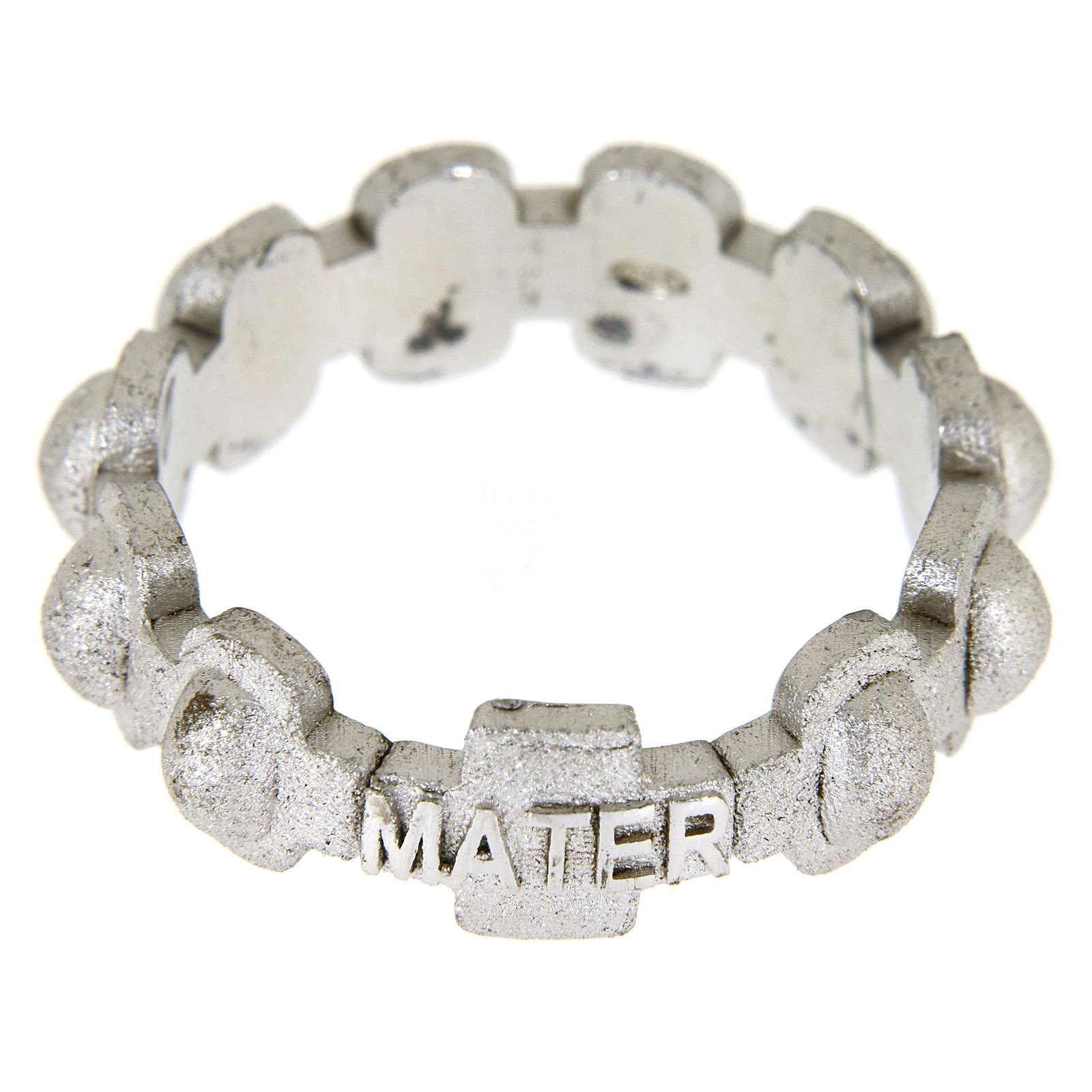 Anillo rosario MATER plata arenado 3