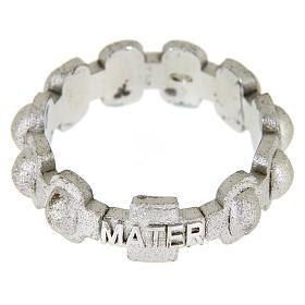 Anillo rosario MATER plata arenado s2