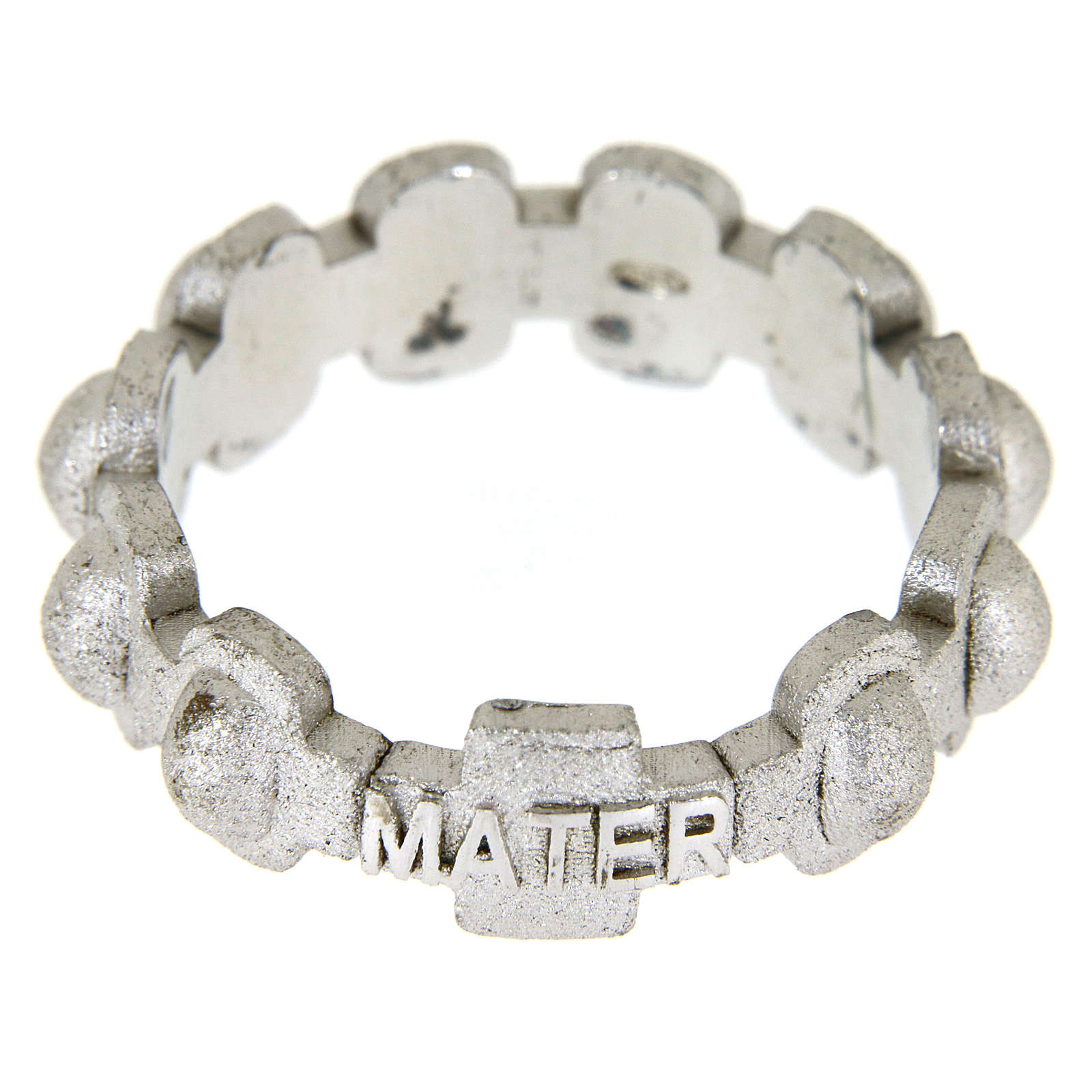 Fedina rosario MATER sabbiata argento 925 3