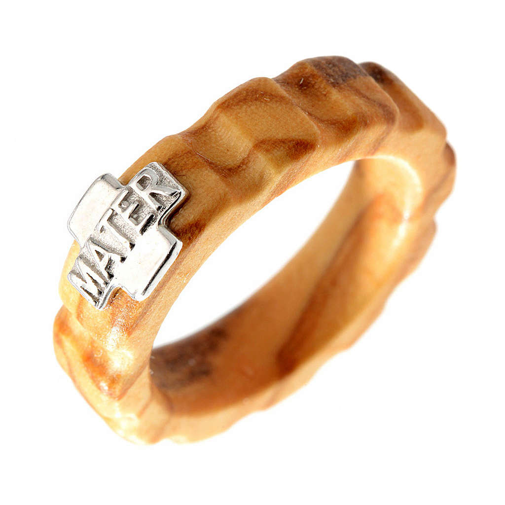 Rosary ring in olive wood with silver 925 cross, MATER 3