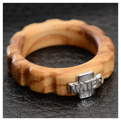Rosary ring in olive wood with silver 925 cross, MATER 2