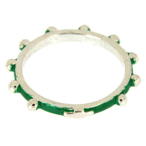 Anillo rosario MATER esmalte verde plata 925 2
