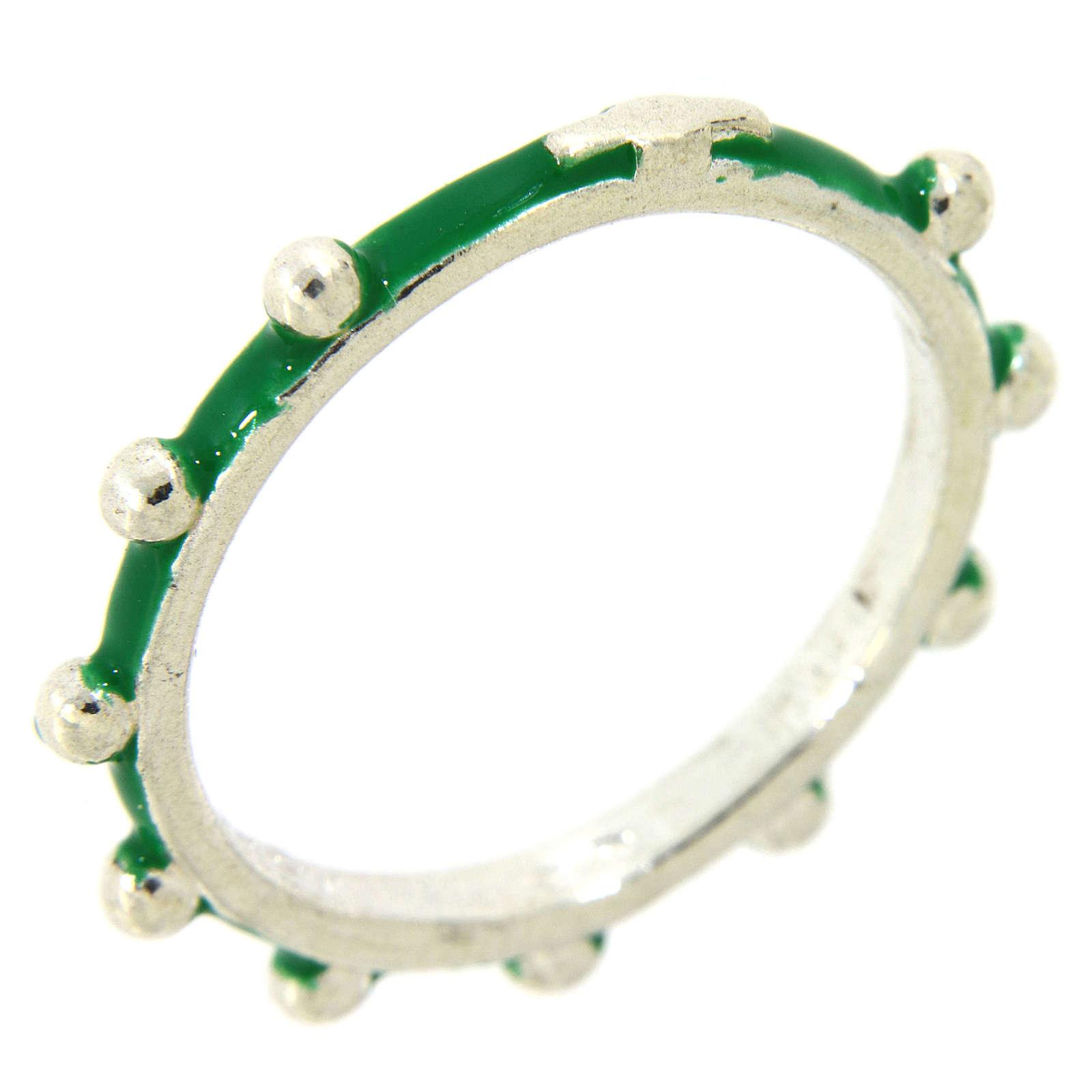 Obrączka różaniec MATER emaliowana zielona srebro 925 3