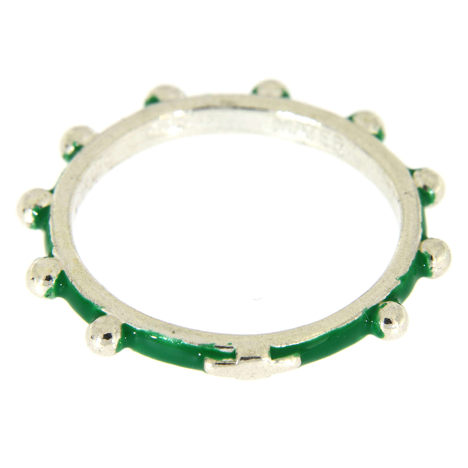 Sterling silver rosary ring with green enamel, MATER 3