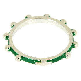 Sterling silver rosary ring with green enamel, MATER s2