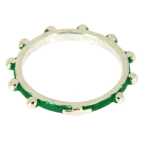 Sterling silver rosary ring with green enamel, MATER 2