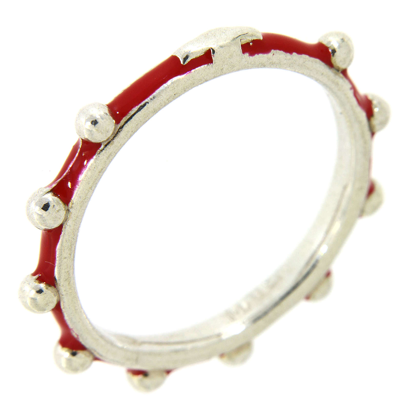 Sterling silver rosary ring with red enamel, MATER 3