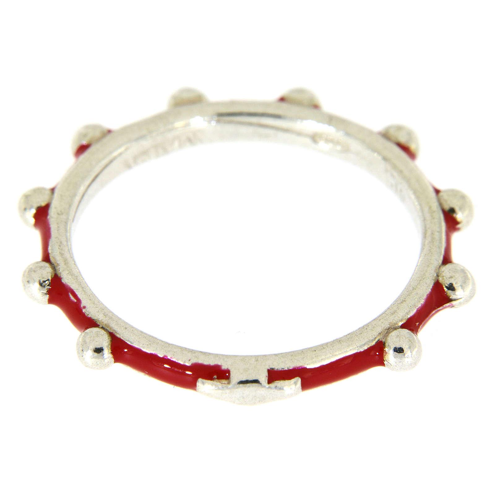 Anillo rosario MATER esmalte rojo plata 925 3