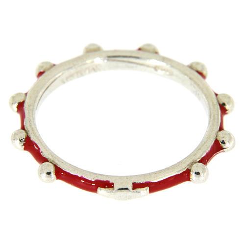 Anillo rosario MATER esmalte rojo plata 925 2