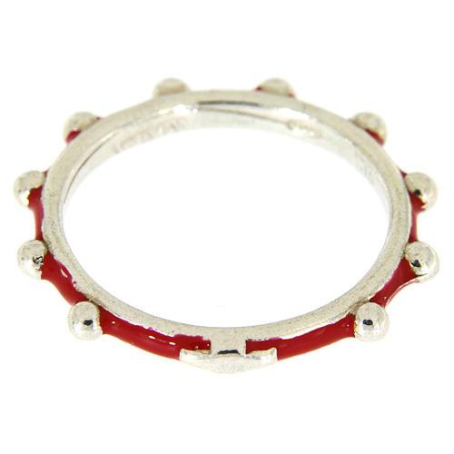 Fedina rosario MATER smaltata argento 925 rossa 2