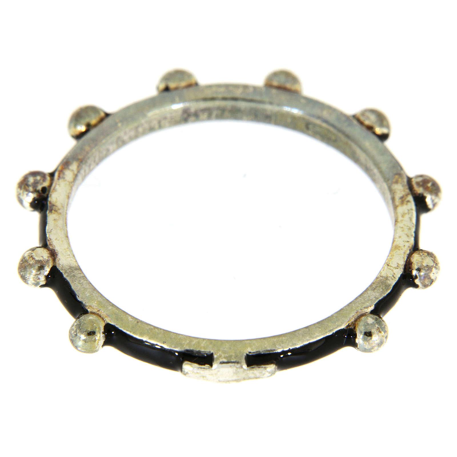 Anillo rosario MATER esmalte negro plata 925 3