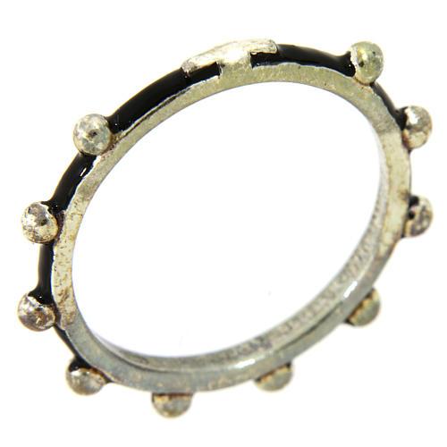Anillo rosario MATER esmalte negro plata 925 1