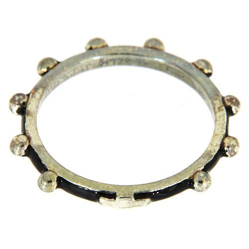 Anillo rosario MATER esmalte negro plata 925 2