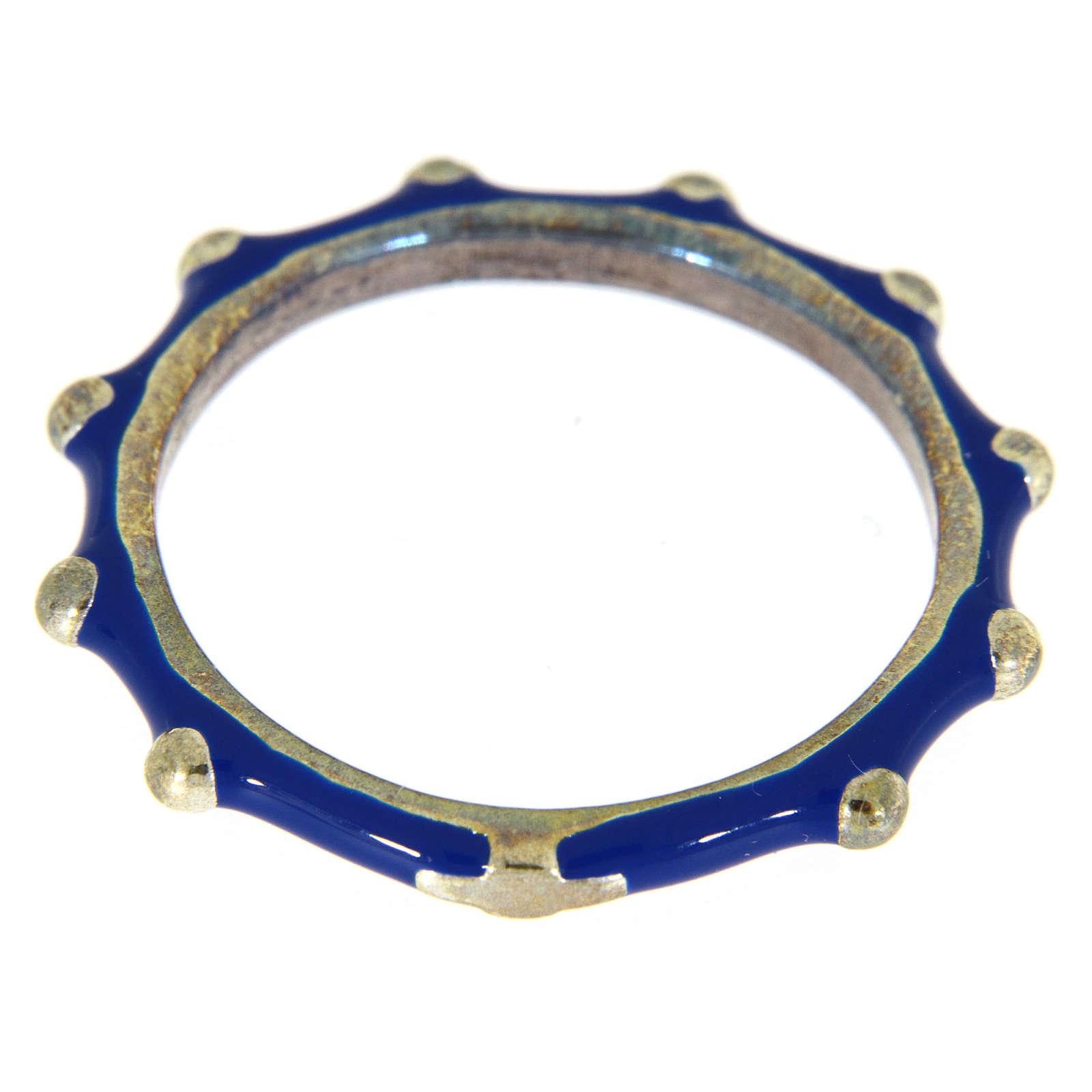 Anillo rosario MATER esmalte azul plata 925 3