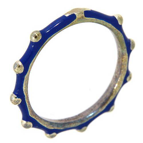 Anillo rosario MATER esmalte azul plata 925 1