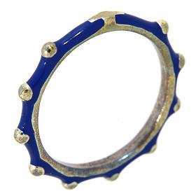 Anéis Religiosos: Aliança terço MATER esmaltada prata 925 azul