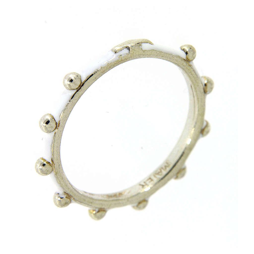 Fedina rosario MATER smaltata argento 925 bianca 3