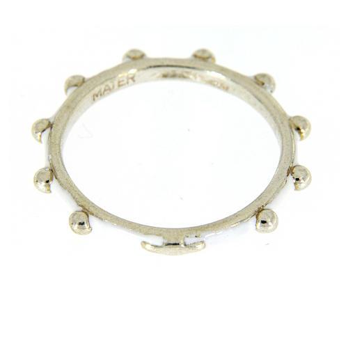 Fedina rosario MATER smaltata argento 925 bianca 2