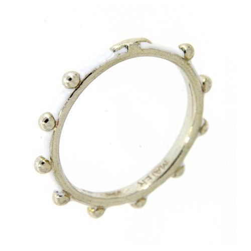 Fedina rosario MATER smaltata argento 925 bianca 1