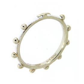 Anéis Religiosos: Aliança terço MATER esmaltada prata 925 branca