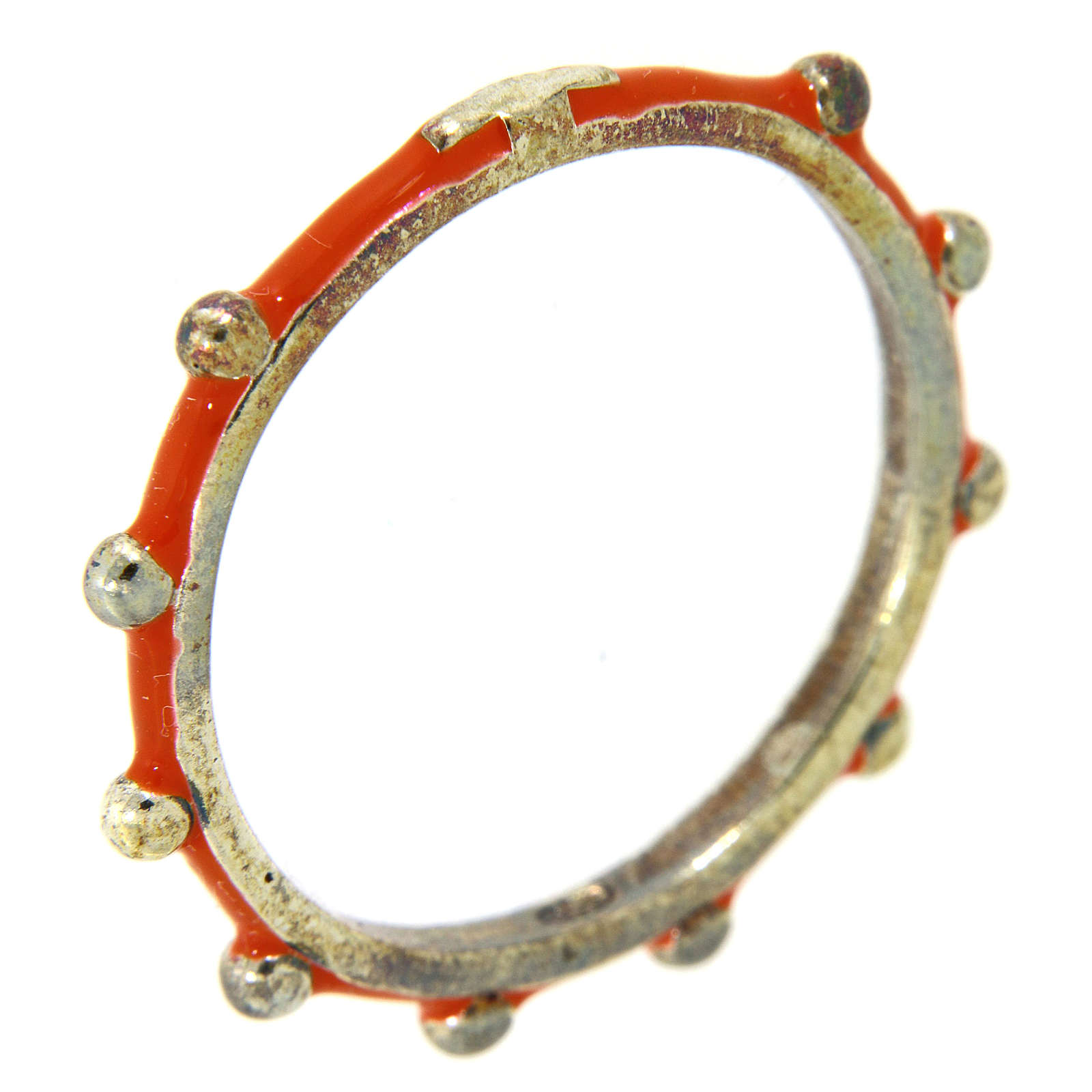 Sterling silver rosary ring with orange enamel, MATER 3