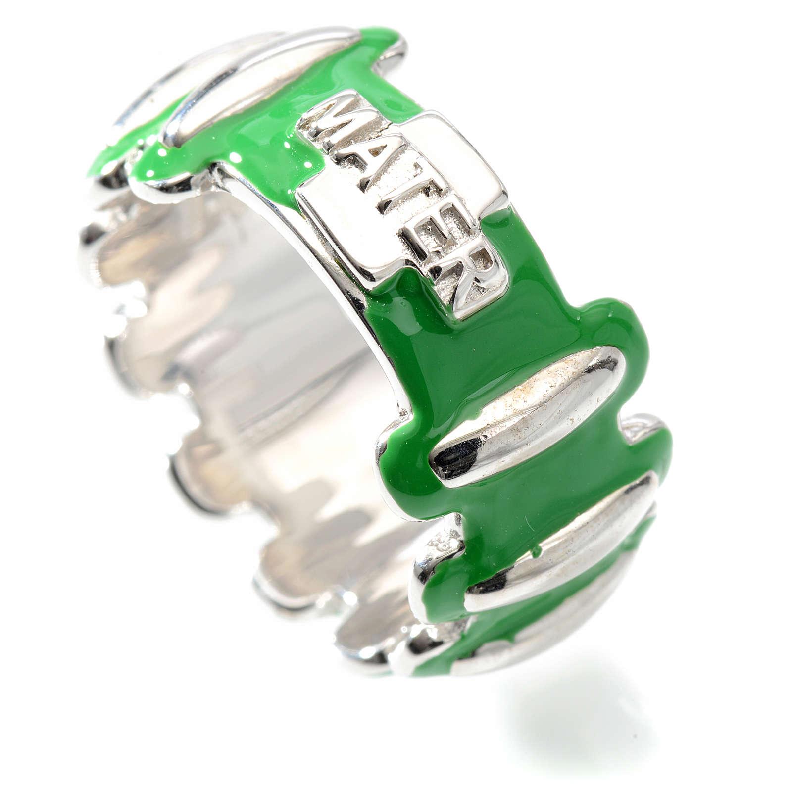 Anello rosario MATER argento 925 smaltato verde 3