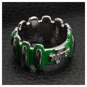 Anello rosario MATER argento 925 smaltato verde s2