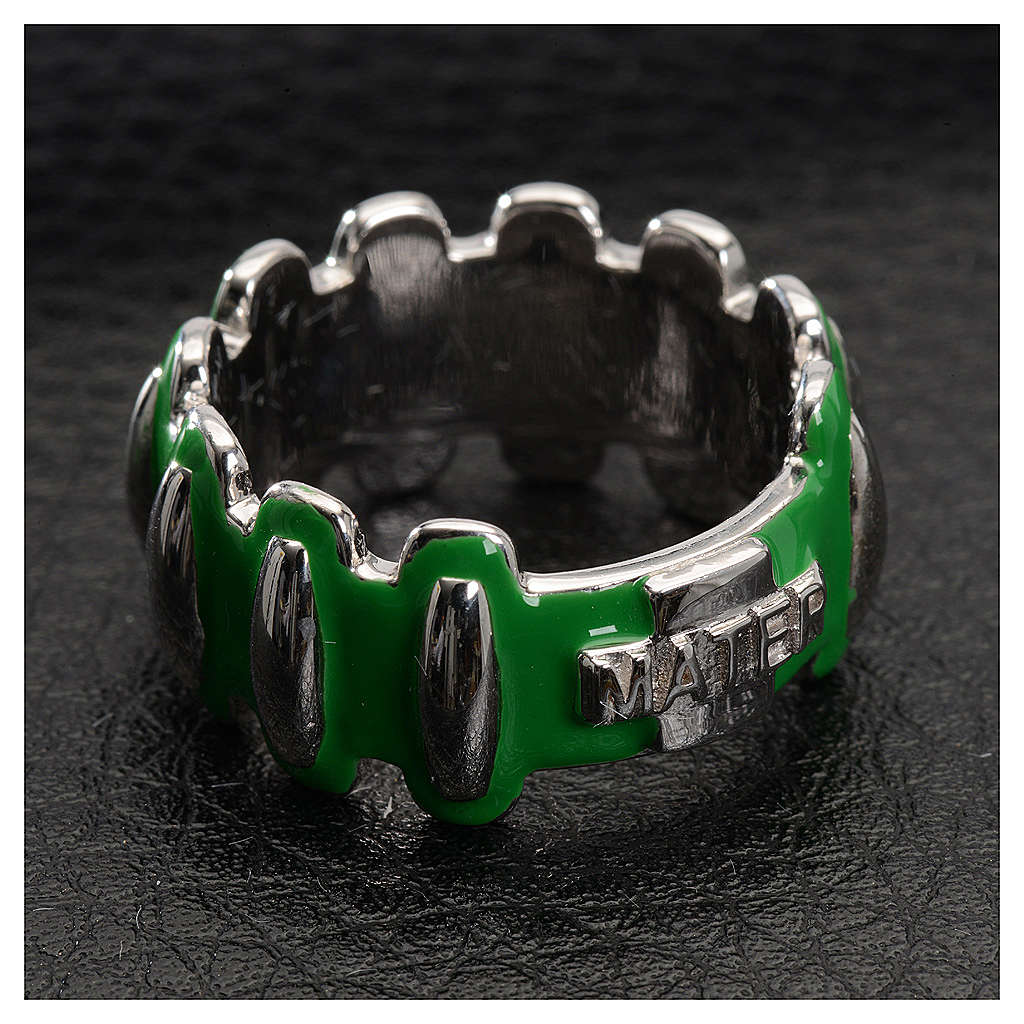 Rosary ring in silver 925 with green enamel, MATER 3