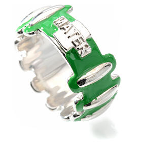 Rosary ring in silver 925 with green enamel, MATER s3